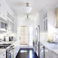 Galley Kitchen Lighting White Galley Kitchen Schoolhouse Lights Kitchens
