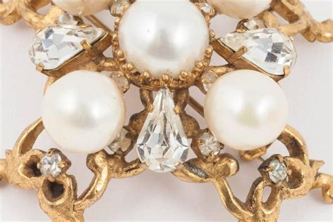7 Pretty Brooches And Pins by Beautiful Handmade Gilt Pearl And Paste Cruciform