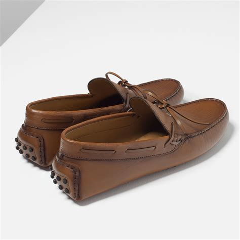 brown boat shoes zara zara brown leather driving loafers in brown for men lyst