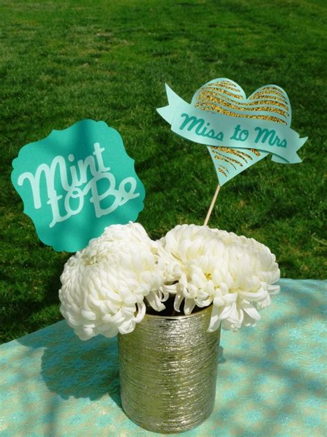 mint to be bridal shower centerpiece miss to mrs glitter