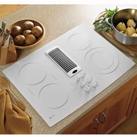 white cooktops ge profile series pp989tnww 30 quot electric downdraft cooktop