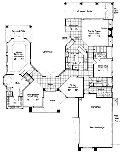 courtyard plans plan 6382hd two story courtyard house plan florida