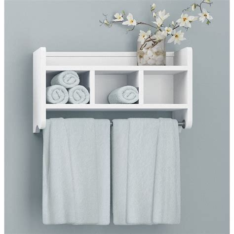 wood bathroom shelf with towel bar alaterre 25 inch wood bath storage shelf with towel rod
