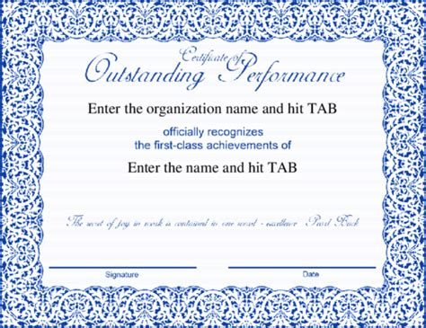 outstanding performance certificate template certificate template for outstanding performance image