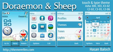 doraemon themes x2 01 doraemon and the sheep theme for nokia asha 202 300 303