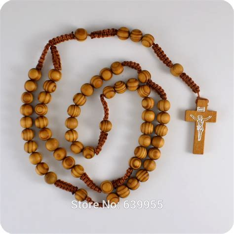 new wooden rosary inri jesus cross pendant necklace