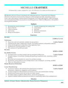 Cus Recruiting Manager Sle Resume by Recruiter Cv Exle For Admin Livecareer