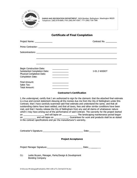 certification letter for completion best photos of construction completion form sle