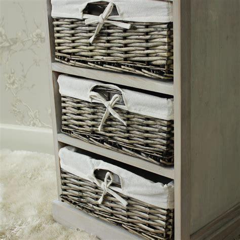 Wicker Basket Drawers Storage by Vintage Grey Range One Drawer With Four Wicker Baskets