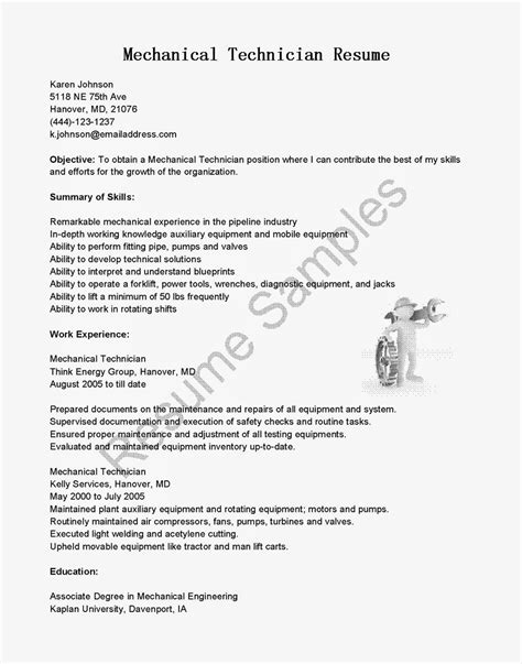 Mechanical Technician Resume Sle computer repair technician resume keywords 2017 cover