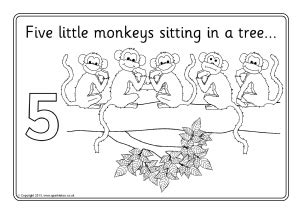 five cheeky monkeys swinging in a tree nursery rhyme colouring sheets coloring pages sparklebox