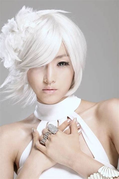 dramatic angel haircuts white hair beautiful asian girl the most beautiful