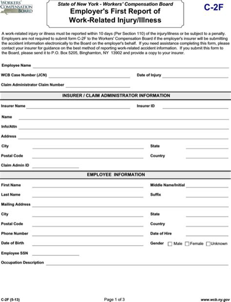 new york worker s compensation form for free