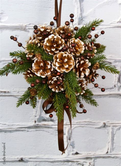 diy kissing ball with pine cones crafts unleashed