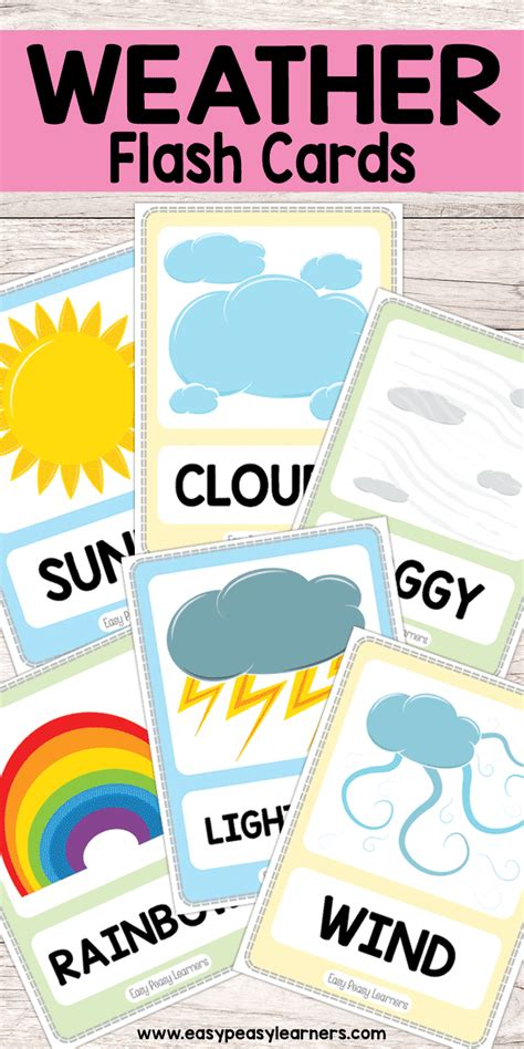 kindergarten themes weather free printable weather flash cards must do crafts and