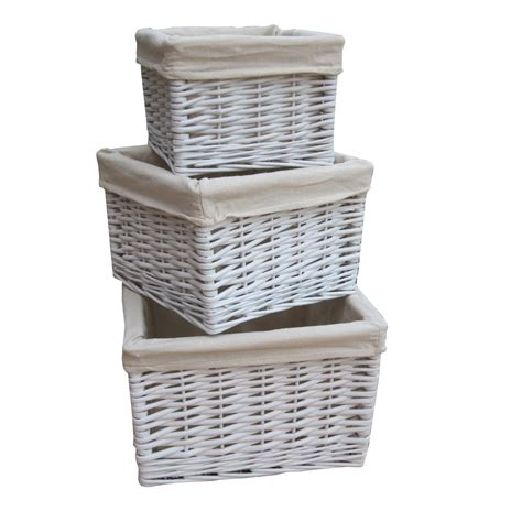 Square White Wicker Deep Storage Basket Lined Willow Bathroom Basket Storage