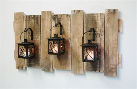 rustic wall decor farmhouse style pallet wall decor with lanterns