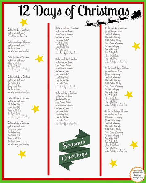 printable lyrics for 12 days of christmas search results for twelve days of christmas words