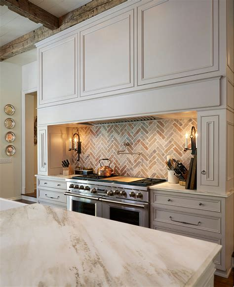 traditional off white kitchen with brick backsplash home