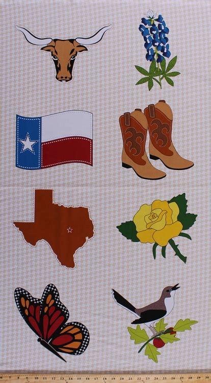 panel quilt  texas symbols symbol texas flag longhorn national flower bluebonnet