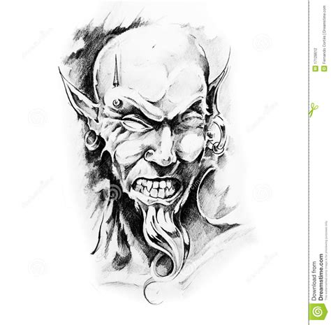 sketch of tatto art devil stock photography image 17128612