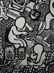 Black and white art graffiti murals heyapathy surreal comics
