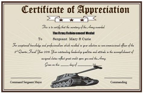 army certificate of template 50 professional free certificate of appreciation