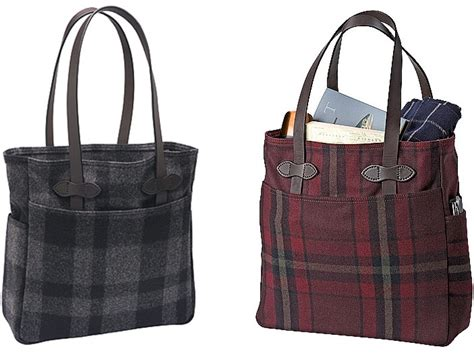 Plaid Bag filson wool plaid tote bags tags wool and
