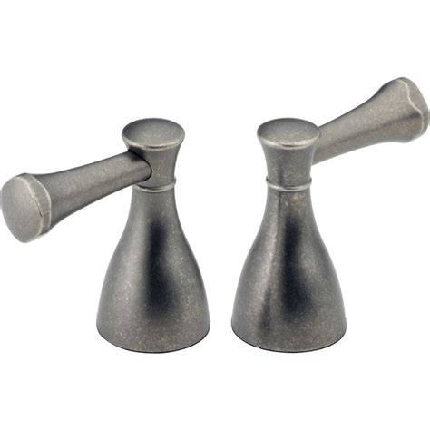 delta pair of lockwood lever handles in aged pewter for 2
