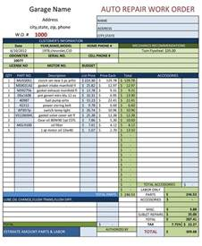 automotive work order template auto repair work order template