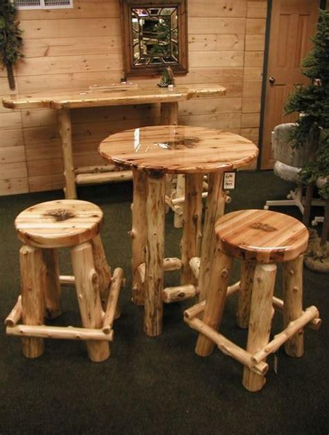 Log Pub Table And Stools by Cedar Pub Table And Stools Log Furniture