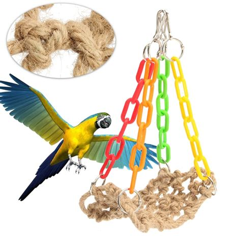 bird parrot supplies rope swing hammock net birds hanging