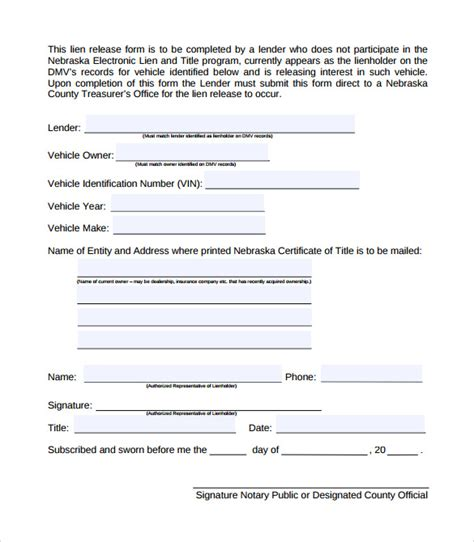 9 Lien Release Forms To Download Sle Templates Free Lien Release Form Template