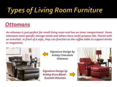 types of living room furniture ppt types of furniture for your living room powerpoint