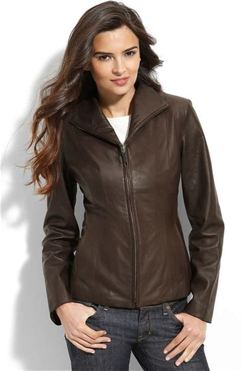 cole haan brown leather jacket cole haan lambskin leather scuba jacket in brown chocolate lyst