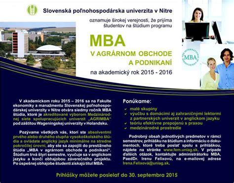 Mba Agribusiness by Ponuka Mba Agribusiness And Commerce Fakulta Ekonomiky A
