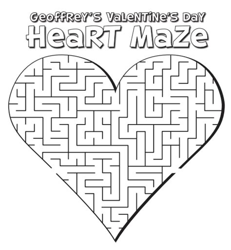 printable valentine s maze free coloring pages of heart maze
