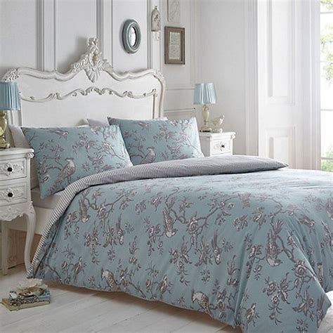home collection blue and grey curious bird bedding set