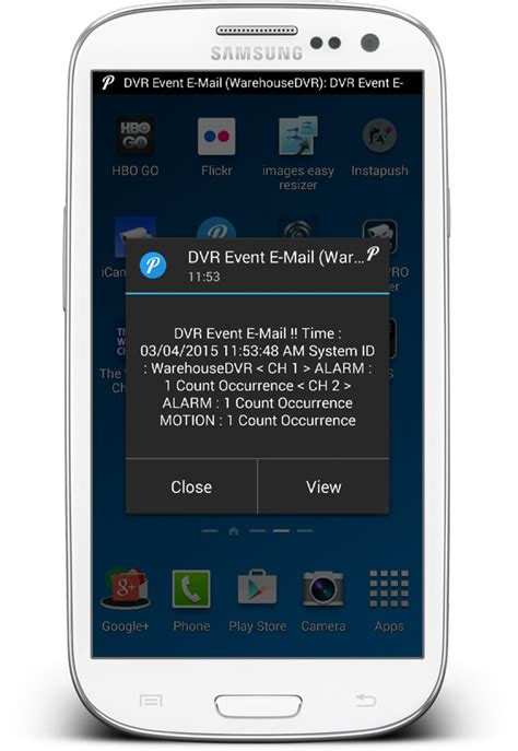Cctv Android mobile app push notifications alerts for idvr pro cctv dvrs
