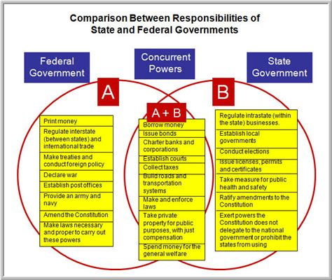 powers of state and federal government venn diagram compare and contrast roles of government deb s data digest