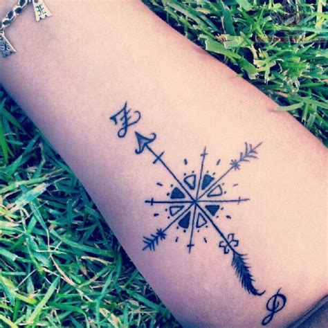 compass tattoo meaning on forehead arrow tattoo images designs