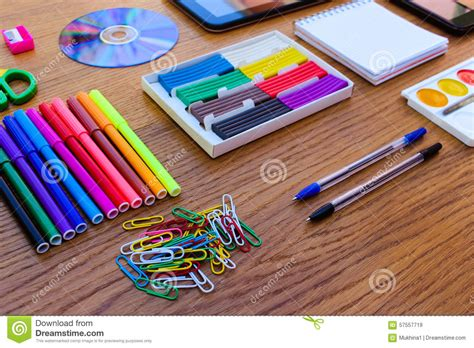 table supplies stationery objects office and school supplies on the