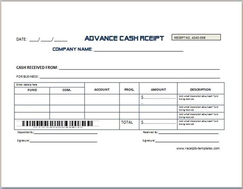 advance payment contract template sle advance receipt template receipt templates