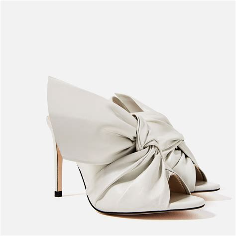 Heels Chelsea Bow Sandals by Zara Leather Sandals With Bow In Lyst