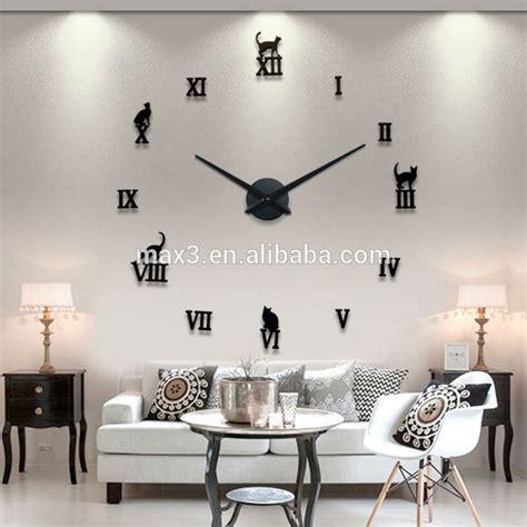 Jam Dinding Modern 3d Frameless Large Wall Clock Diy Dekorasi Dinding baru jam dinding 3d diy stiker jam cermin modern yang