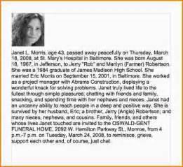 obituaries exles templates 4 beautiful obituaries exles paradochart