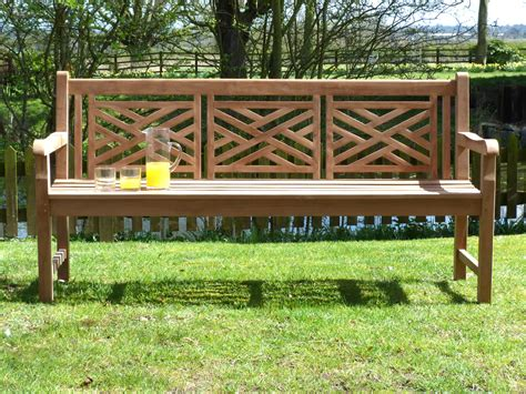 bench landscape oxford cross weave back teak garden bench 180cm