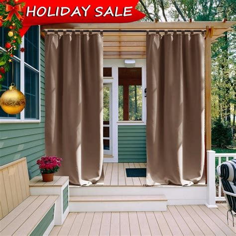 outdoor curtain panel  patio nicetown tab top thermal insulated blackout outdoor curtain