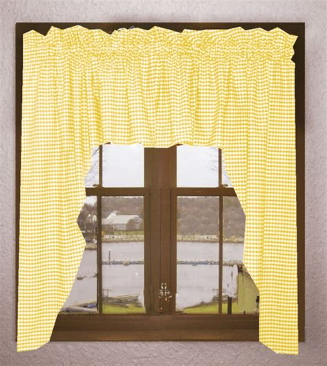 yellow swag curtains yellow and white gingham check swag valance