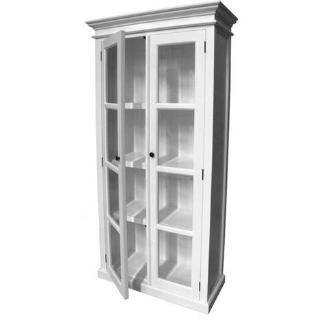 Distressed White Coastal Display Cabinet with 2 Glass